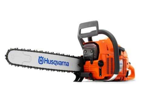 Motosserra Husqvarna profissional com potência de 4.5kW e peso de 7.6kg.